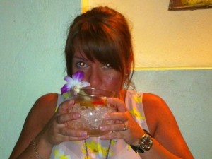 India travel specialist Emma drinking cocktail