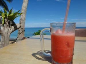 pink drink by the beach in malaysia