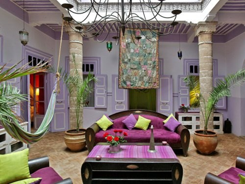 purple lobby with sofa