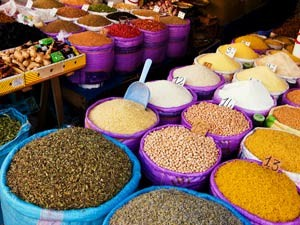 Colourful spices on a stall in Marrakesh Morocco
