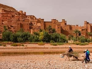 View towards a town in the Sahara Desert in Morocco