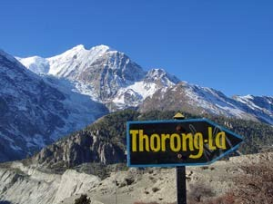 Thorong-La sign in Nepal