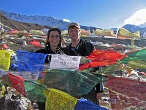 Customers on top of the mountain with colourful flags