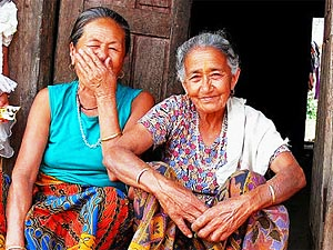 Two old women laughing