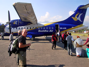 Man waiting for his plane in Nepal