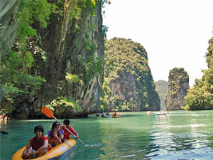 Rafting through the rocks on ko yao yai thailand