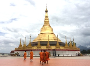 Monks walking to the temple