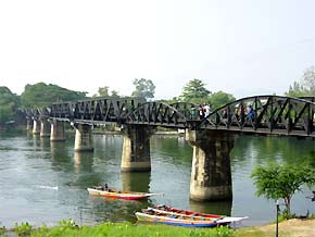 View of a bridge crossing the River Kwai in Thailand