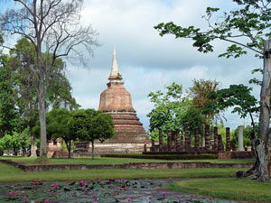 ancient temple in Sukhothai in Thailand