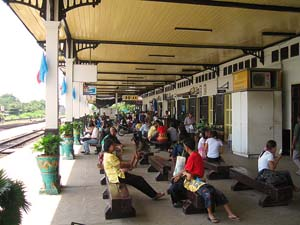 People waiting at the train station
