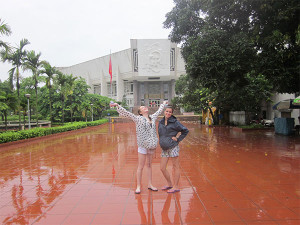 Girls in the rain in Hanoi, Vietnam
