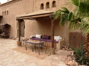 Outside area of a hotel in Erfoub, Morocco