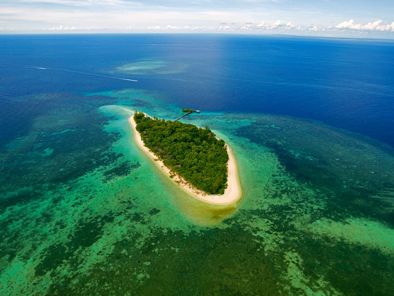 aerial view of island in borneo malaysia