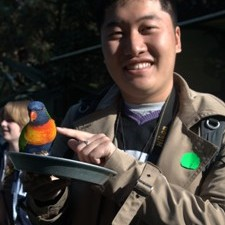 Guide in China with coloured bird