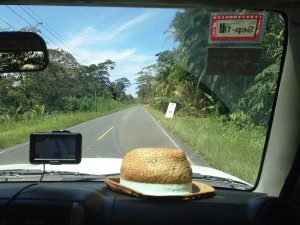 Hat and sat nav in car in Costa Rica