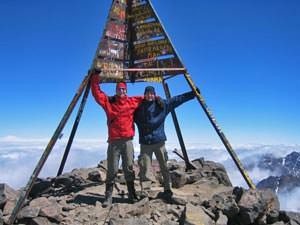 Two men on a trek at the top Toubkal in Morocco