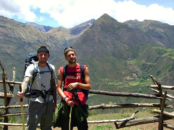 rickshaw staff ross and friend on salkantay trek in peru
