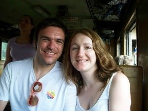 woman and man on train in thailand