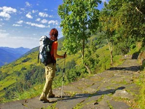 lady trekking in rural Nepal