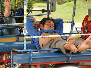 sleeping on a tuk tuk