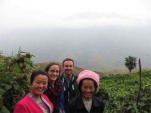 Customer smiling with local guides in Pingan, China
