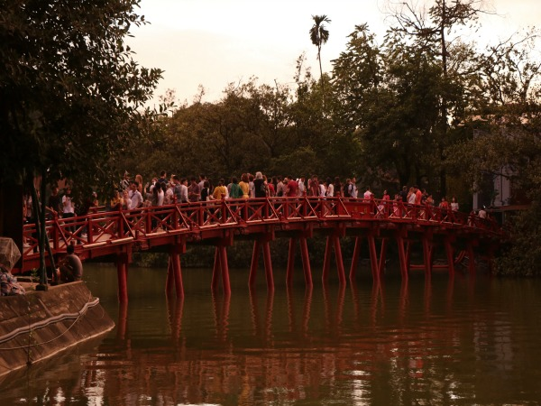 Red bridge hoan kiem lake hanoi vietnam