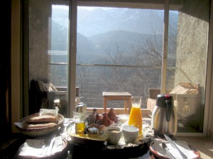 Breakfast with mountain views in background in Morocco