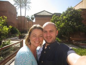 Brittany and her husband in the gardens, Morocco