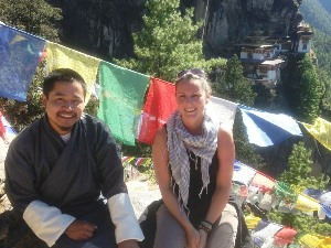 Bhutan travel specialist Jo with guide at tigers nest