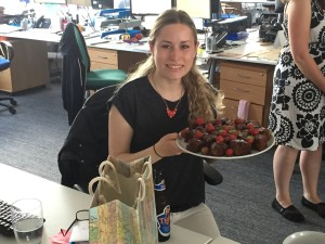 Pauline with her cake at the Rickshaw office