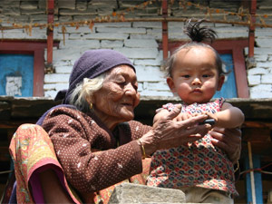 local woman with child in nepal