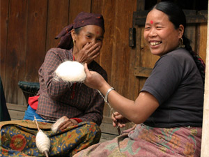 local nepalese women smiling