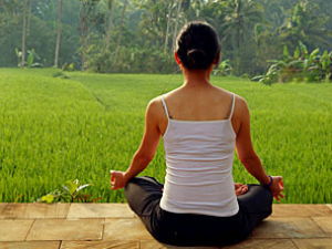 Woman meditating amongst green rice paddies