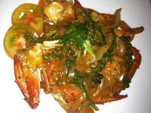 pepper crab dish in kep, cambodia