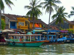 Hoi An, Vietnam waterfront lined with colourful boats