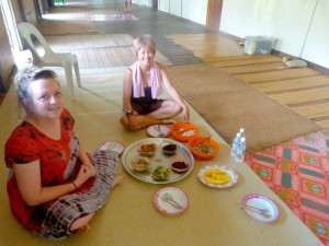 chloe and family eating in longhouse