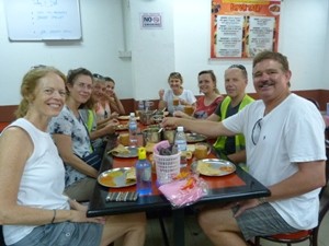 Travellers eating breakfast in Penang