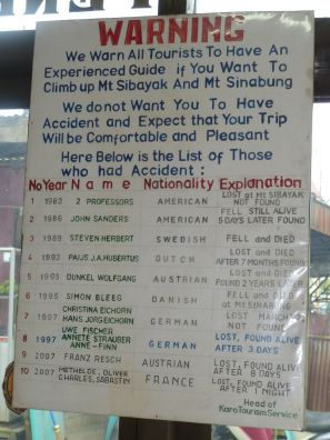 Picture of a notice board about volcano trekking guides at Sibayak volcano in Sumatra Indonesia