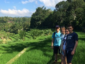 Family in the rice paddies, Ubud