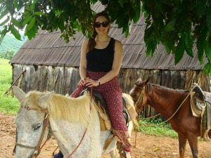 girl on horse in Vinales, Cuba