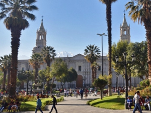The main square in Arequipa, Peru
