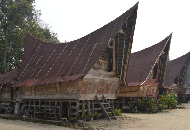 Row of Batak style houses by Lake Toba in Sumatra
