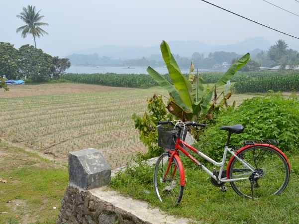 bike and scenery in samosir island sumatra