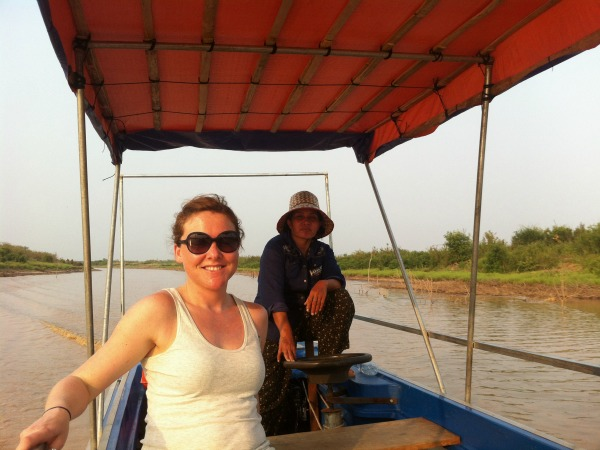 woman on boat in cambodia