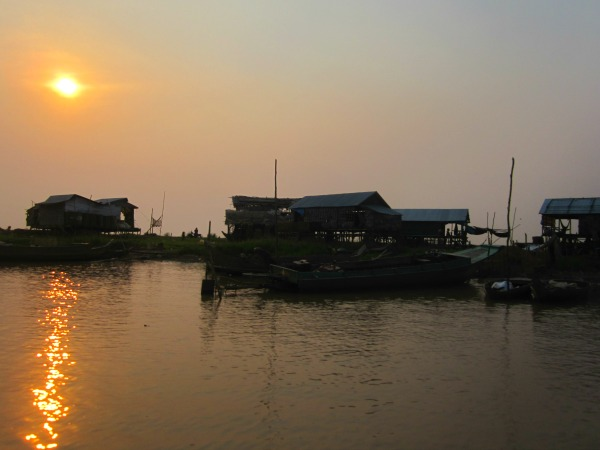 cambodia tonle sap sunset