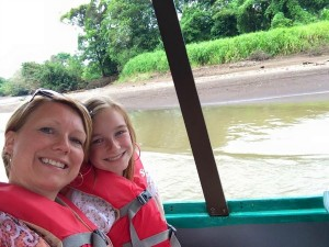 mother and daughter on boat in Costa Rica