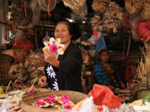 Indonesian woman holding flower