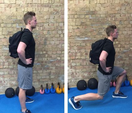 Fitness trainer doing lunges