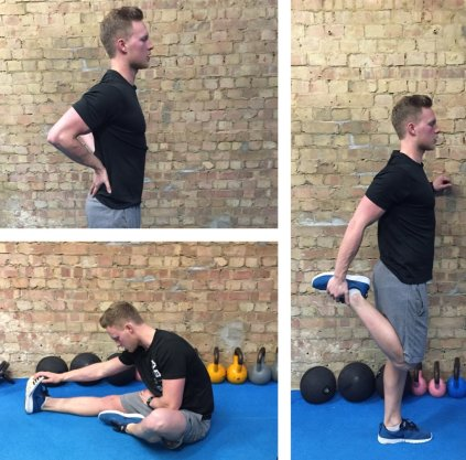Fitness trainer doing dynamic stretches