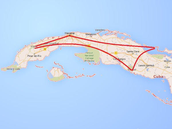 routing map in Cuba